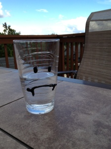 Sad glass is sad (and pensive).  Perhaps it is thinking about when it was a full glass.